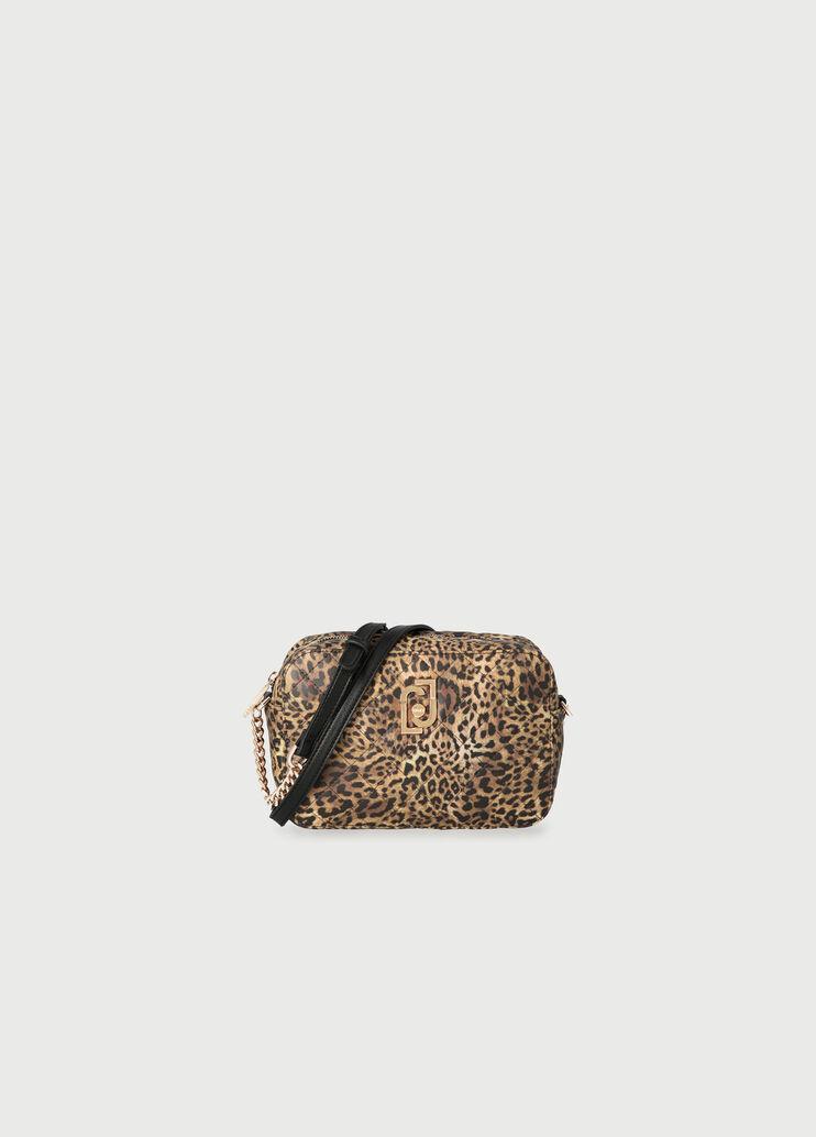 Tabitha \u201ctable\u201d crossbody Black with metallic leopard print