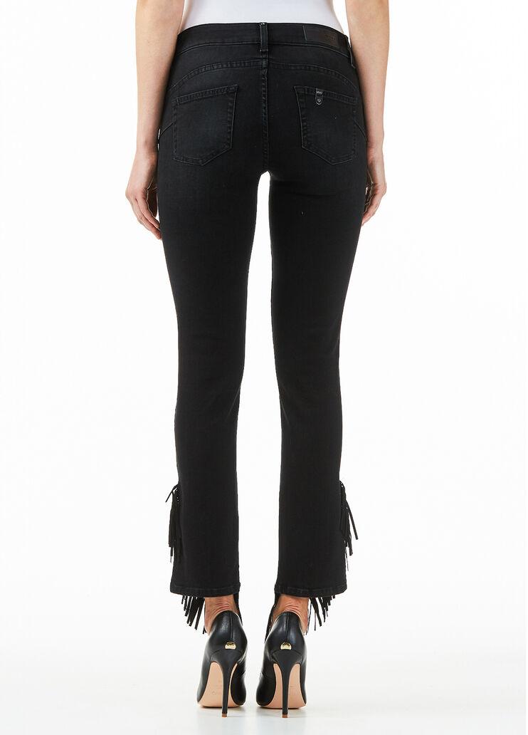 lema sistemático Microbio  Jeans flare con frange