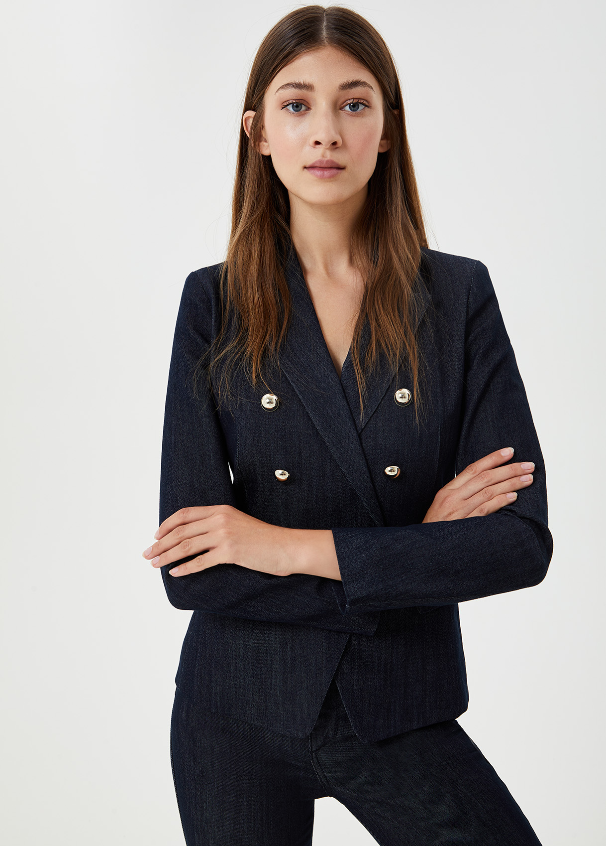 Blazer doppiopetto in denim Denim blu Liu Jo - large
