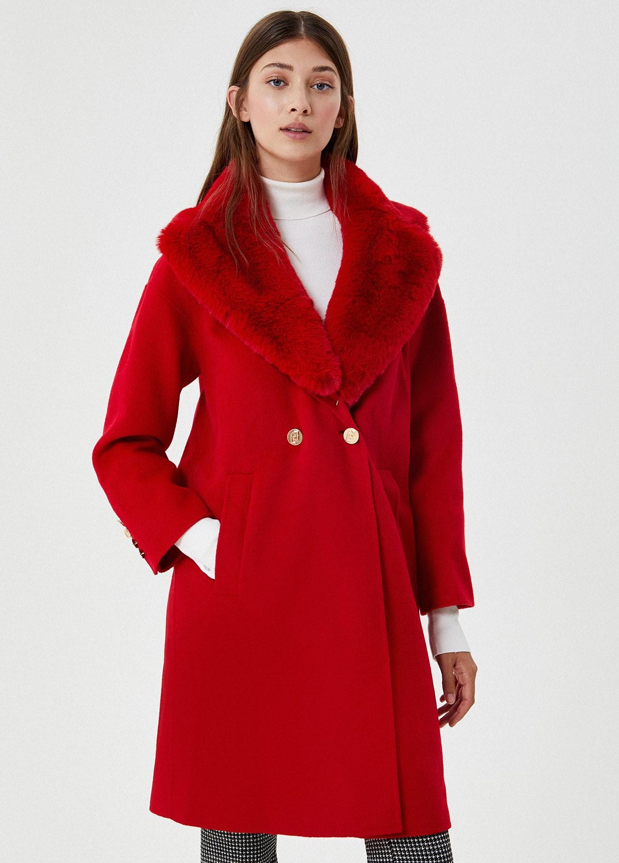 Cappotto lungo in tessuto sintetico Rosso Liu Jo - large