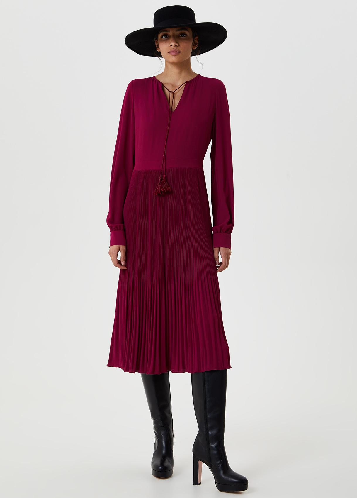 Vestito midi con plissé Rosa Liu Jo - large