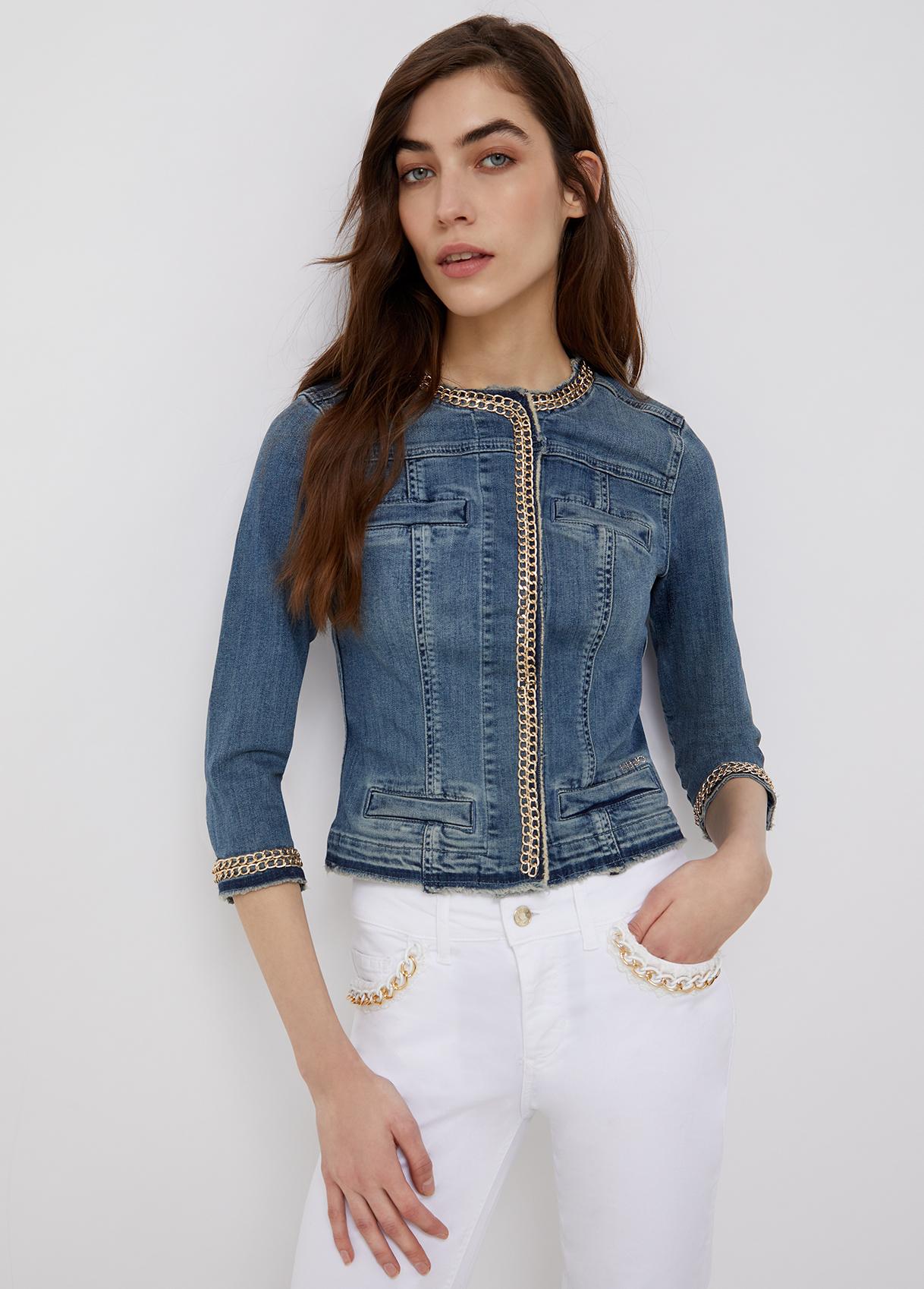 Giacca di jeans con decori gioiello-77556-liujo-large
