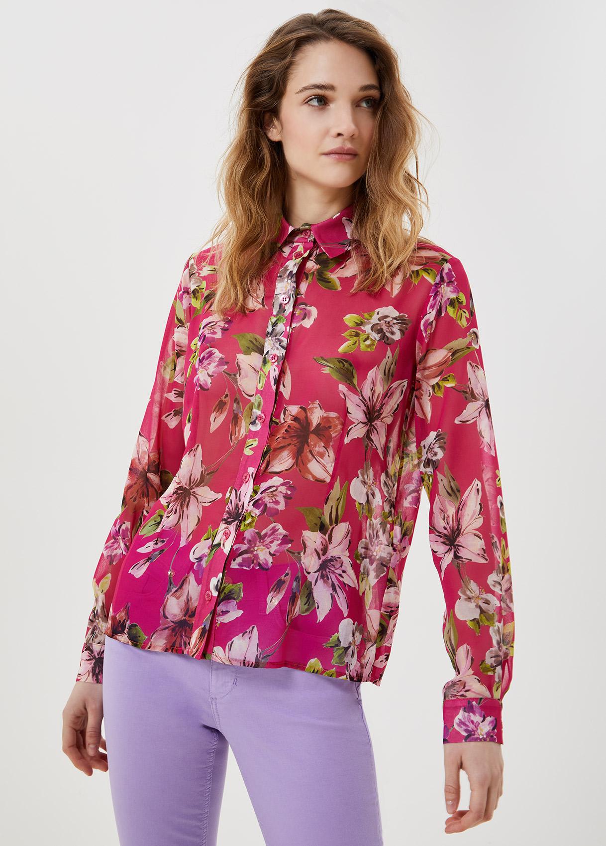 Camicia in georgette Fuxia con fiori Liu Jo - large