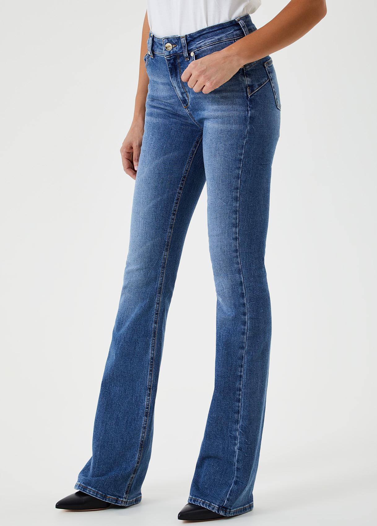 Jeans a zampa a vita alta Blu Liu Jo - large