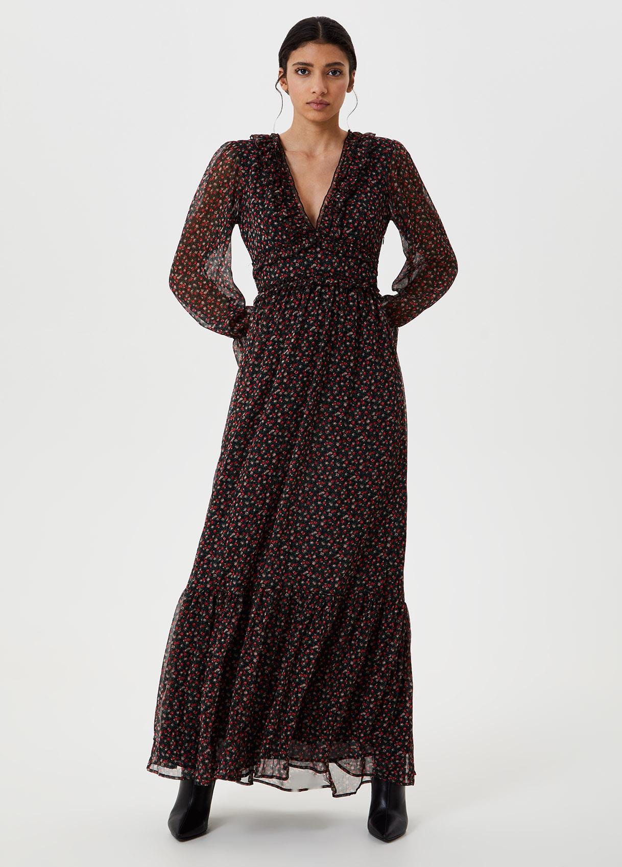Vestito lungo stampato Nero Liu Jo - large
