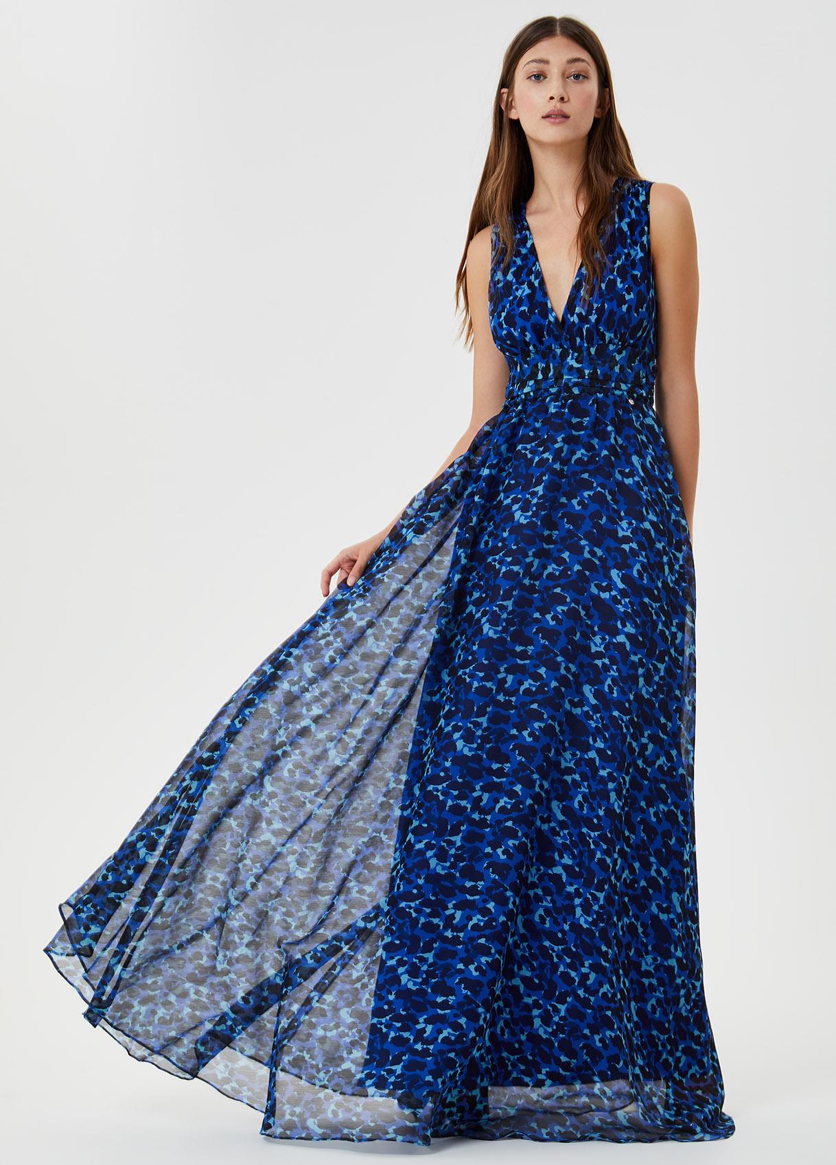 Vestito lungo con cut out Blu Liu Jo - large