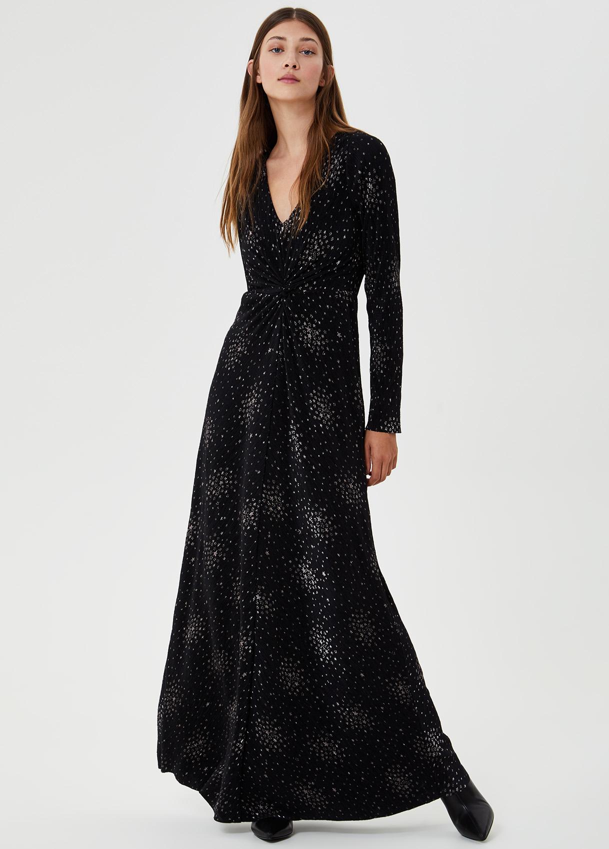 Vestito lungo con dettagli luminosi Nero Liu Jo - large