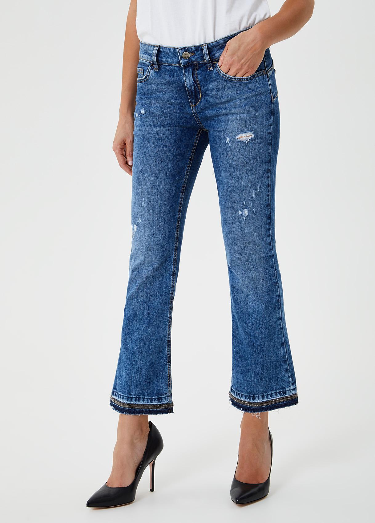 Jeans cropped a zampa Blu Liu Jo - large