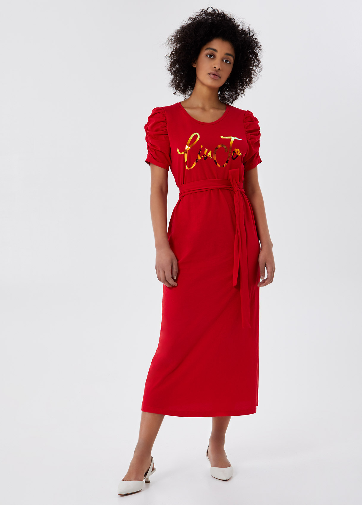 Vestito lungo con cintura Rosso Liu Jo - large