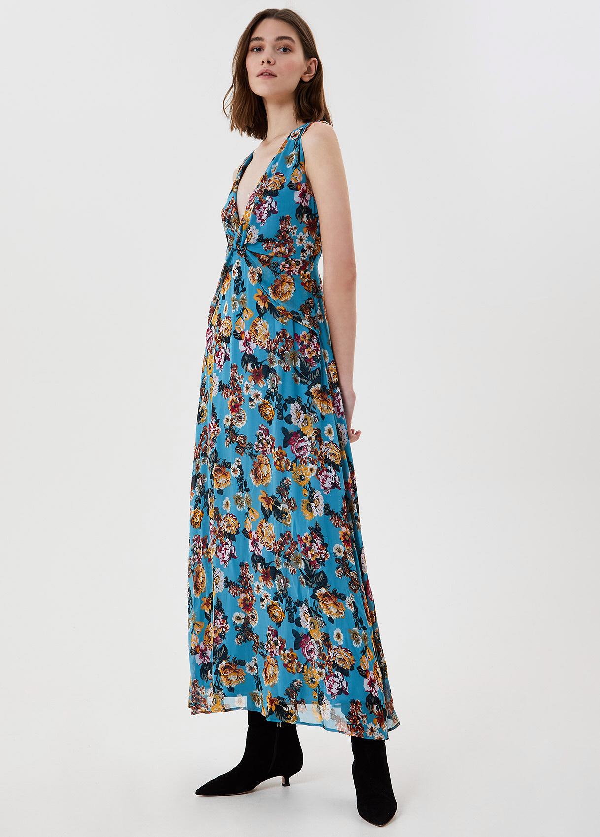 Vestito lungo con stampa Fiori azzurri Liu Jo - large